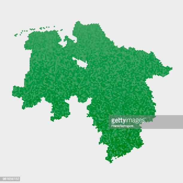 Lower Saxony German State Map Green Hexagon Pattern