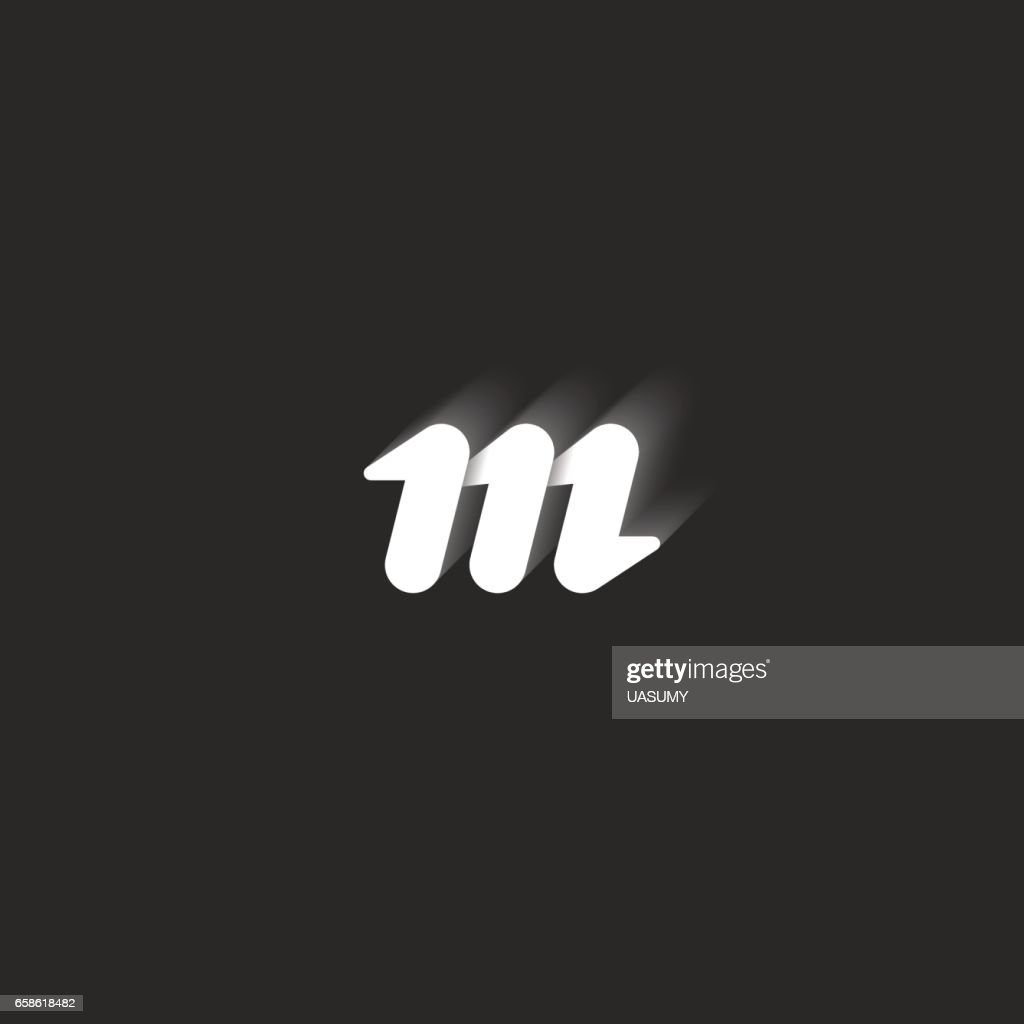 Lowercase bold letter M. Graphic design element black and white style sleek lines geometric shape with shadows. Small identity simple symbol for business card emblem.