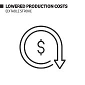 Lowered Production Costs Line Icon, Outline Vector Symbol Illustration. Pixel Perfect, Editable Stroke.