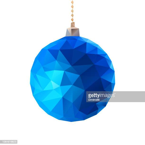 Low-polly blue christmas ball.
