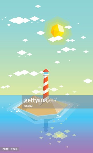 Lowpoly lighthouse island