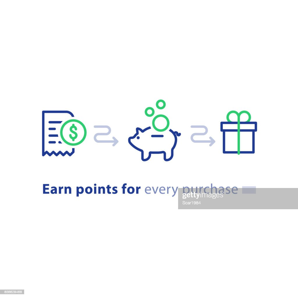 Loyalty program concept, earn points, win gift, shopping incentive, line icons