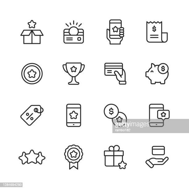 loyalty program line icons. editable stroke. pixel perfect. for mobile and web. contains such icons as gift box, loyalty card, money, savings, marketing, customer experience, payments, piggy bank, promotion, five star rating, credit card, shopping. - incentive stock illustrations