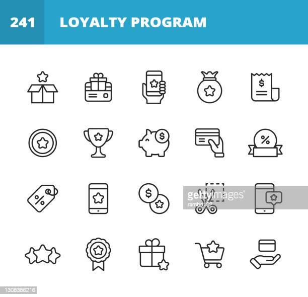 treueprogramm-liniensymbole. bearbeitbarer strich. pixel perfekt. für mobile und web. enthält symbole wie geschenkbox, treuekarte, geld, sparen, marketing, kundenerfahrung, zahlungen, piggy bank, promotion, fünf-sterne-bewertung, kreditkarte, einkaufen. - loyalität stock-grafiken, -clipart, -cartoons und -symbole