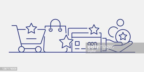 loyalty program related web banner line style. modern linear design vector illustration for web banner, website header etc. - loyalty stock illustrations