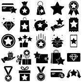 Loyalty program set icon, bonus program for customers, isolated on a white background