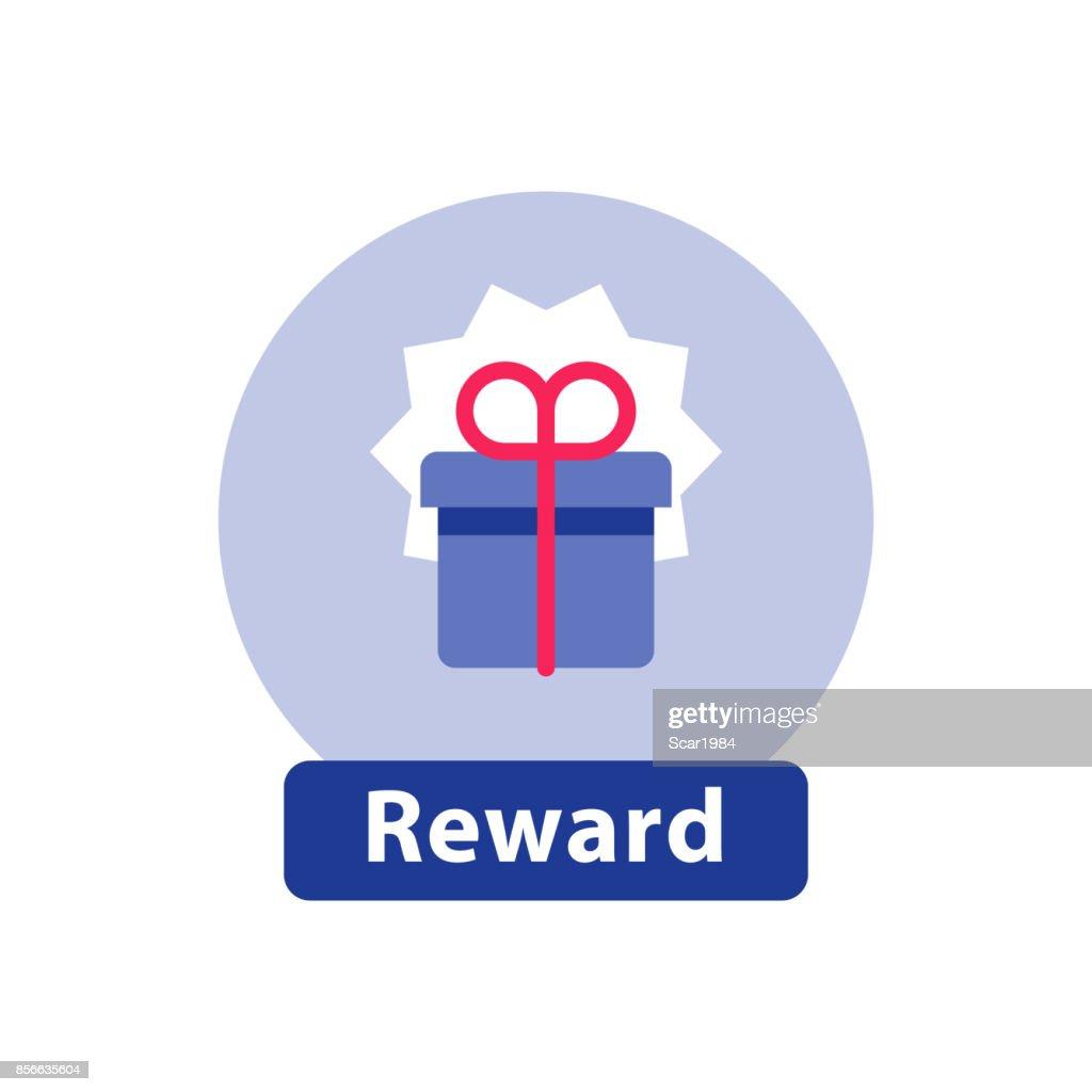Loyalty reward, surprising gift box, super present, win prize, flat icon