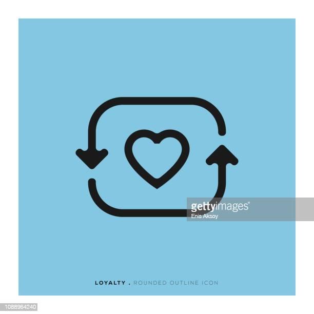 ilustraciones, imágenes clip art, dibujos animados e iconos de stock de icono de línea redondeada de lealtad - lealtad