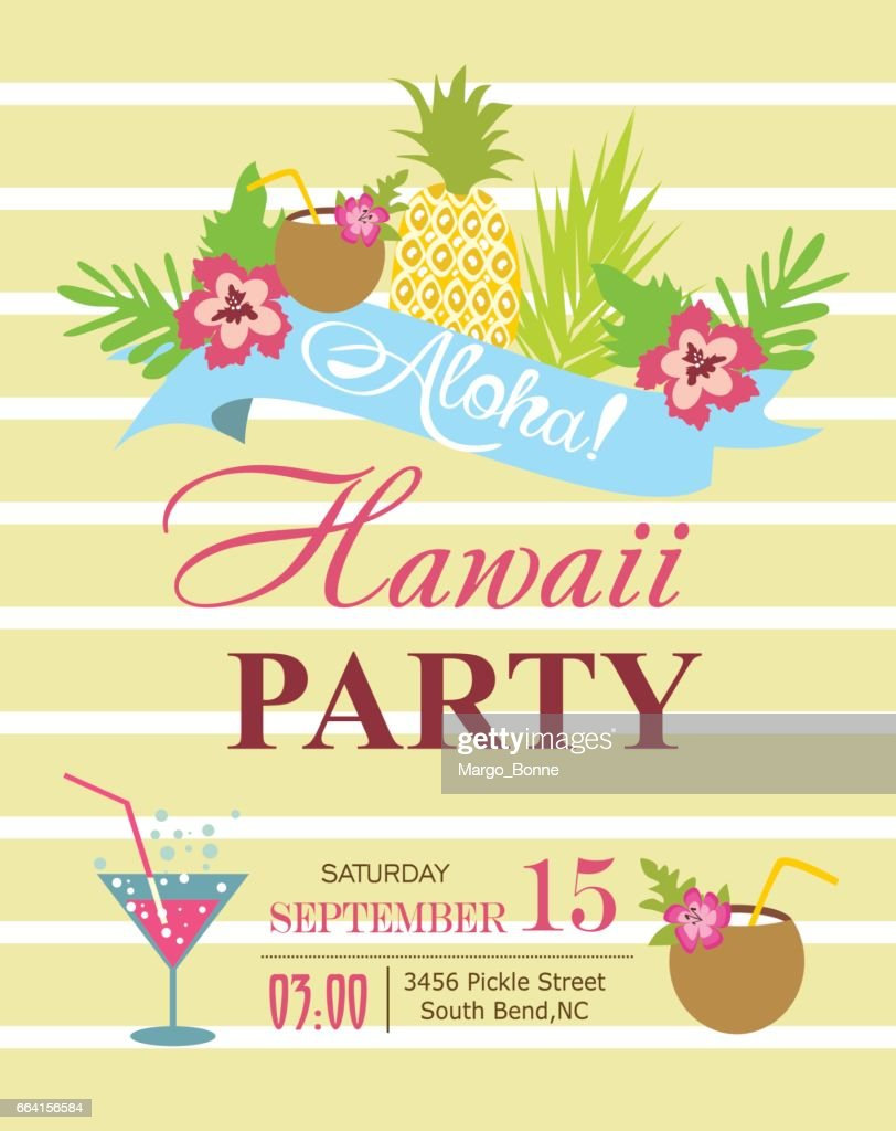Luau party invitation card