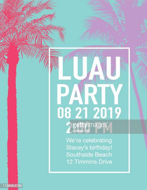 luau party invitation with sunset and palm trees - invitation stock illustrations