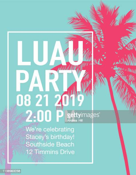 luau party invitation with sunset and palm trees - coconut palm tree stock illustrations, clip art, cartoons, & icons