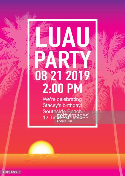 luau party invitation with sunset and palm trees - beach holiday stock illustrations, clip art, cartoons, & icons