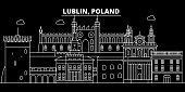 Lublin silhouette skyline. Poland - Lublin vector city, polish linear architecture, buildings. Lublin travel illustration, outline landmarks. Poland flat icon, polish line banner