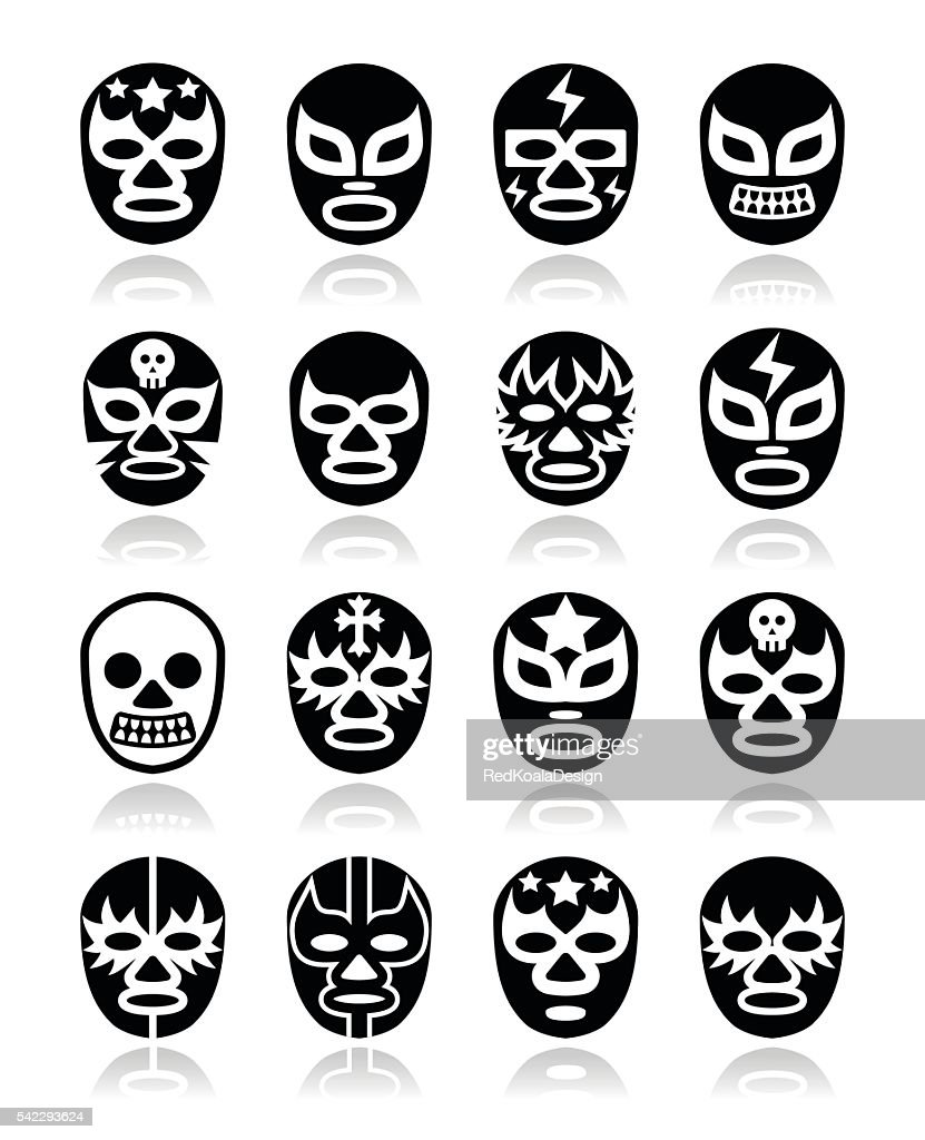 Lucha libre, luchador Mexican wrestling white masks icons on black