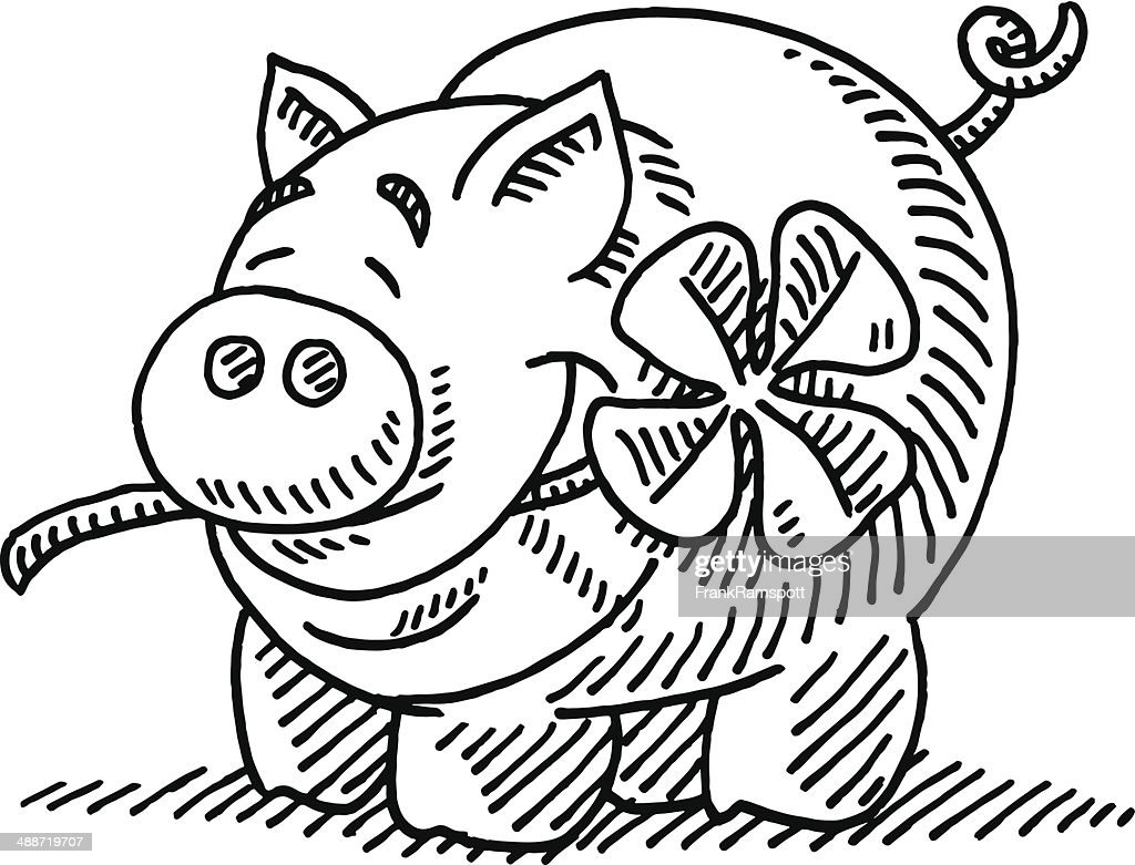 luck pig four leaf clover drawing vector art