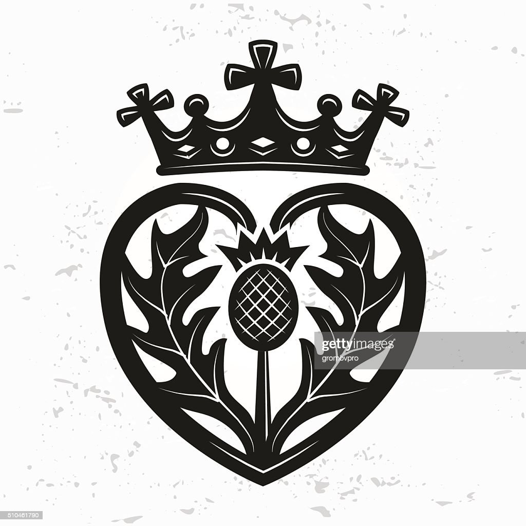 Luckenbooth brooch vector. Scottish wedding heart crown. Valentine day illustration