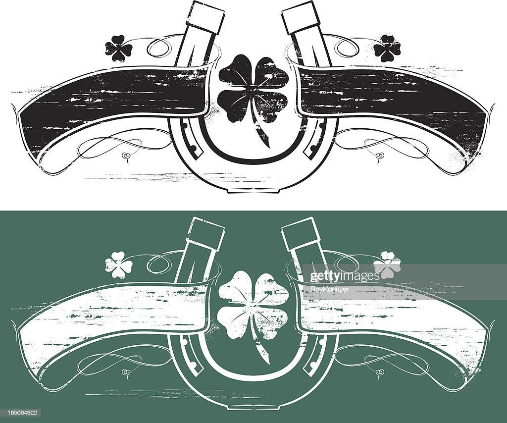 Lucky clover horseshoe banner
