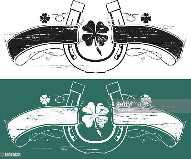 glücksklee horseshoe banner - hufeisen stock-grafiken, -clipart, -cartoons und -symbole