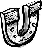 Lucky horseshoe cartoon icon.