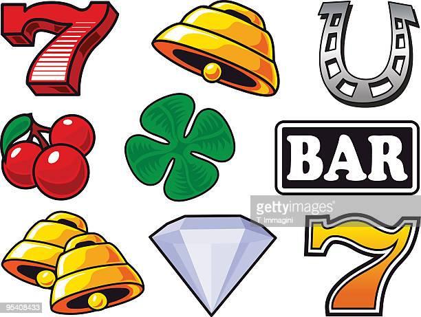 lucky set - slot machine stock illustrations, clip art, cartoons, & icons