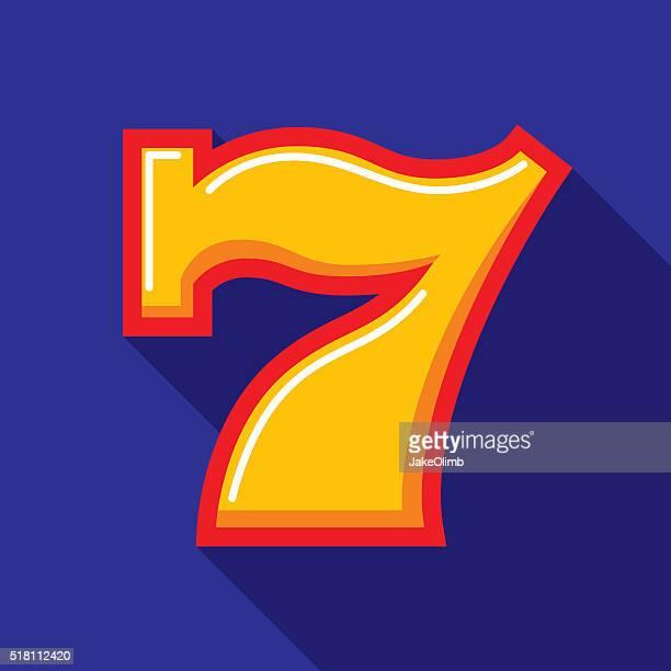 Lucky Seven Icon Flat