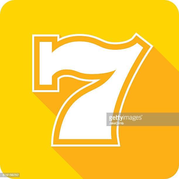 ラッキー 7 つのアイコンシルエット - 数字の7点のイラスト素材/クリップアート素材/マンガ素材/アイコン素材