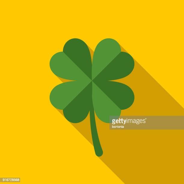 ラッキー シャムロック フラット デザイン聖パトリックの日アイコン - 幸運点のイラスト素材/クリップアート素材/マンガ素材/アイコン素材