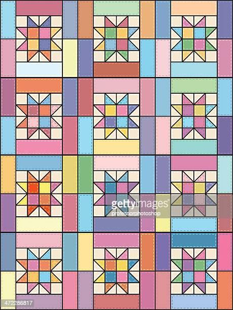 ilustraciones, imágenes clip art, dibujos animados e iconos de stock de lucky estrellas edredón - patchwork