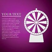 Lucky wheel flat icon on purple background. Vector