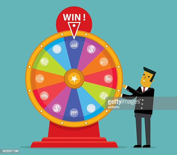 lucky wheel - spinning stock illustrations