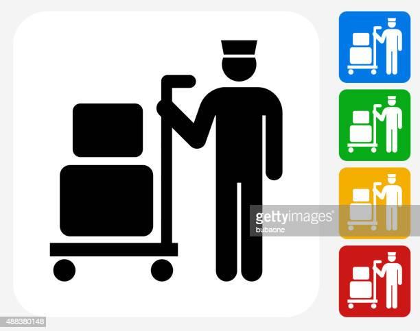 Luggage Boy Icon Flat Graphic Design