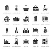 Luggage flat glyph icons. Carry-on, hardside suitcases, wheeled bags, pet carrier, travel backpack. Baggage dimensions and weight signs. Solid silhouette pixel perfect 64x64