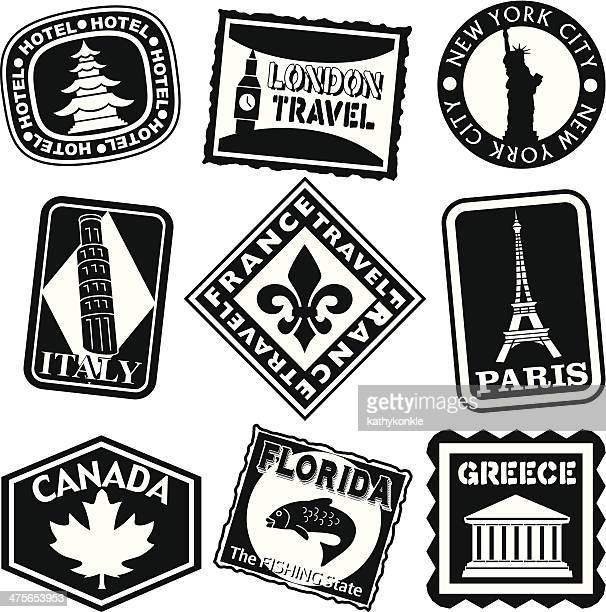 luggage labels black and white - luggage tag stock illustrations, clip art, cartoons, & icons