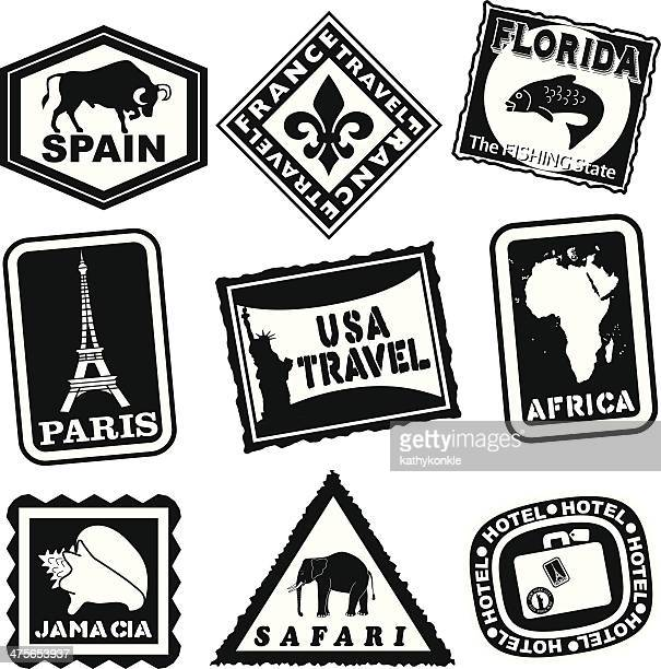 luggage labels in black and white - luggage tag stock illustrations, clip art, cartoons, & icons