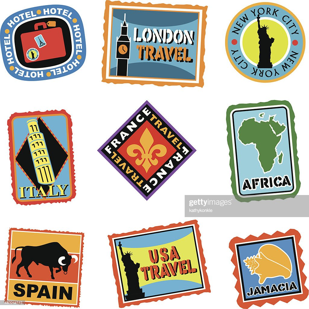 luggage labels or travel stickers : stock illustration