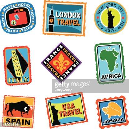 bagages tiquettes ou autocollants de voyage clipart vectoriel getty images. Black Bedroom Furniture Sets. Home Design Ideas