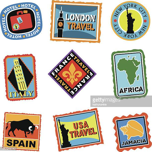 luggage labels or travel stickers - travel tag stock illustrations, clip art, cartoons, & icons