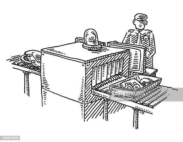 luggage security check at the airport drawing - x ray equipment stock illustrations, clip art, cartoons, & icons