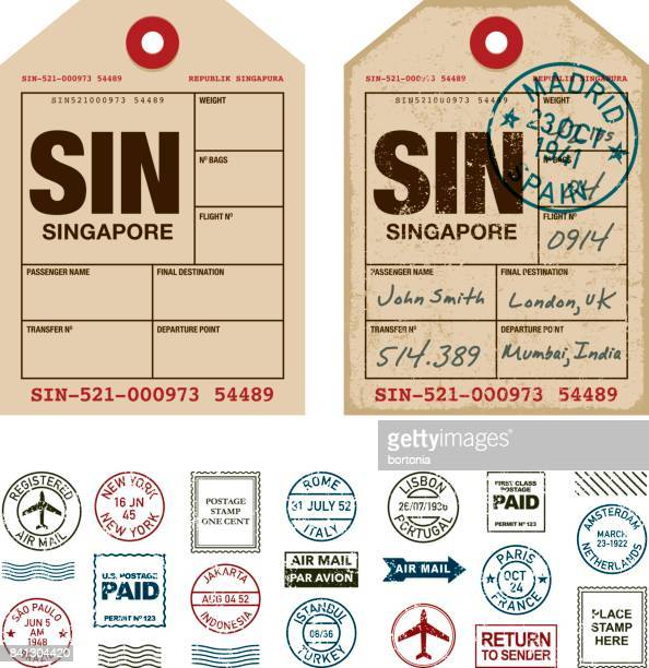 luggage tags rubber stamp icon set - travel tag stock illustrations, clip art, cartoons, & icons
