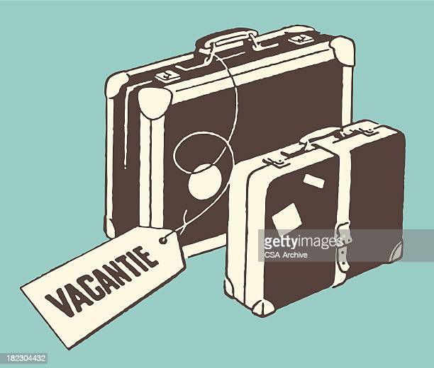 luggage with vacation tag - luggage tag stock illustrations, clip art, cartoons, & icons