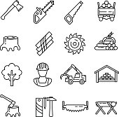 lumber industry. set of line icons.