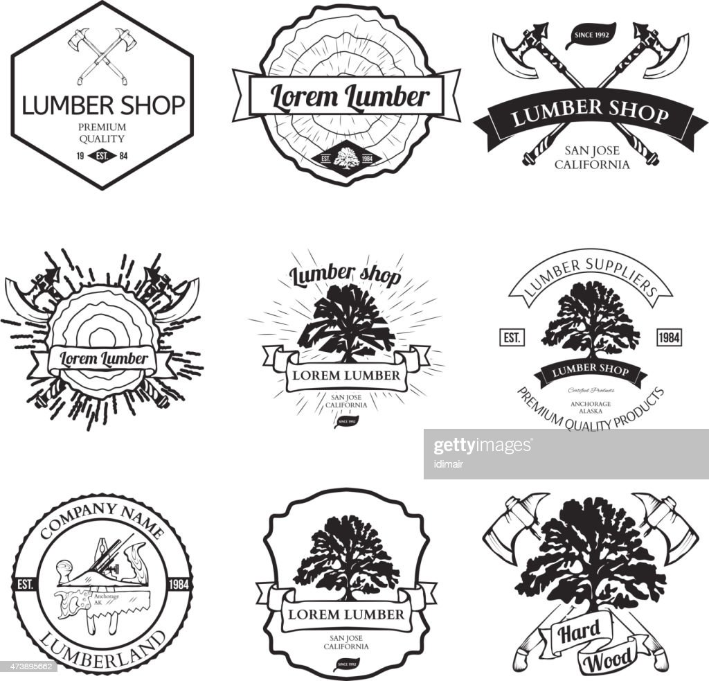 Lumber Shop Label Design Elements Vector