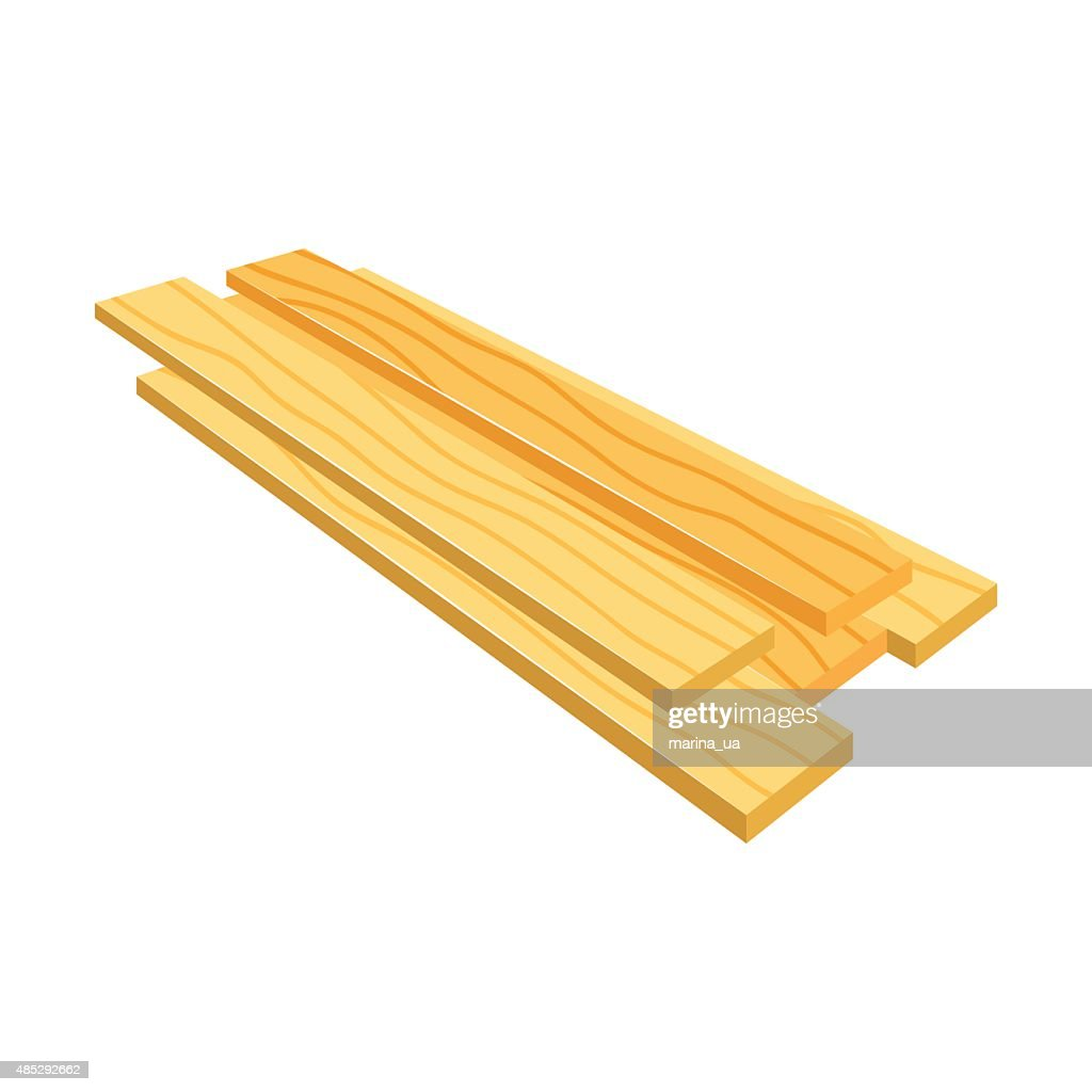 Lumber (timber), stack of wooden planks (bars), vector