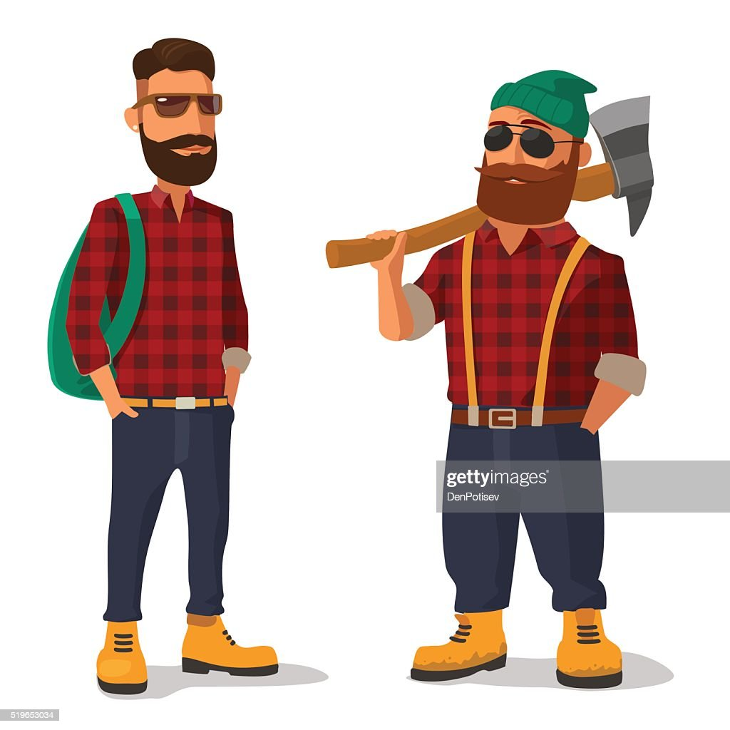 Lumberjack and hipster in the yellow shoes red plaid shirt