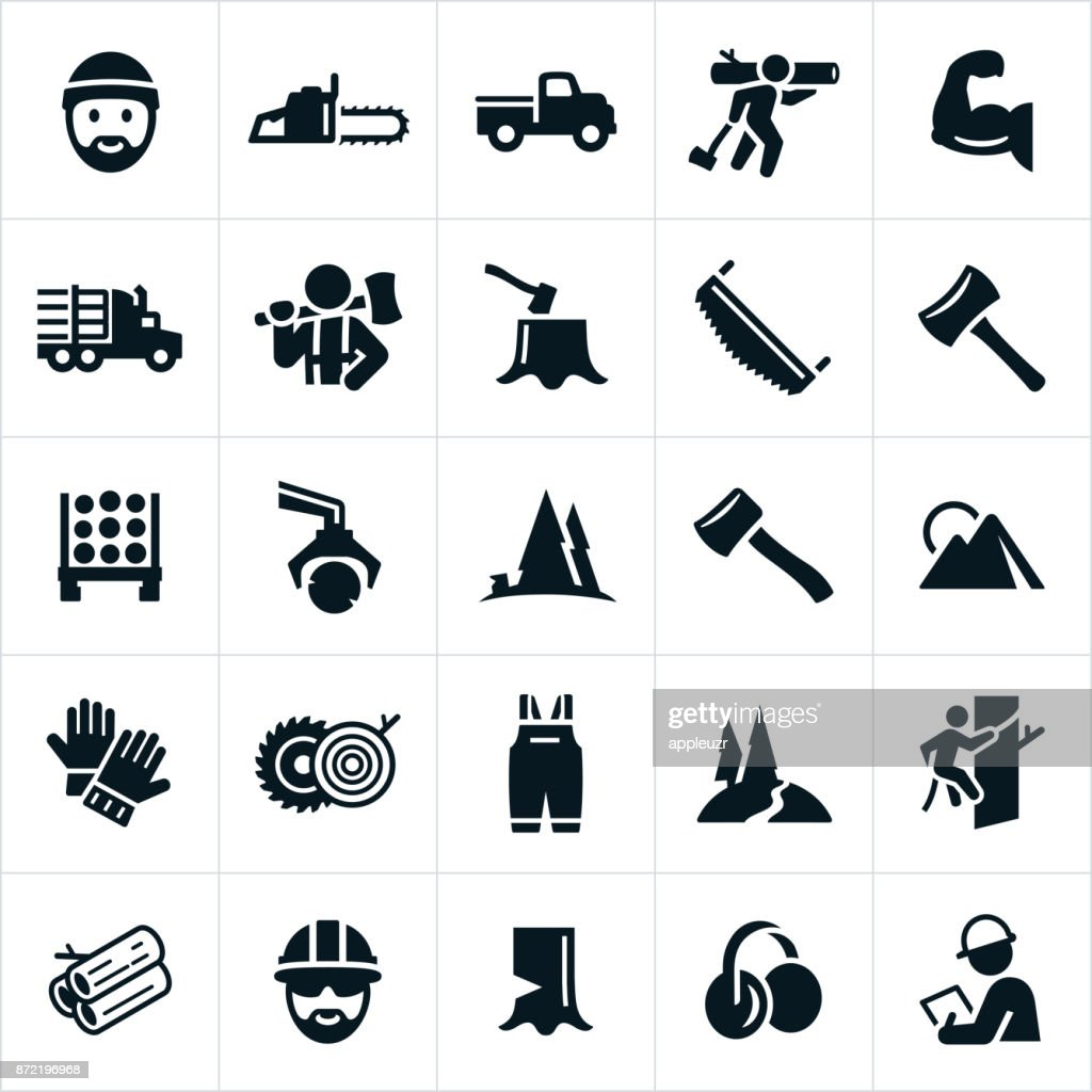 Lumberjack and Logging Icons : stock illustration