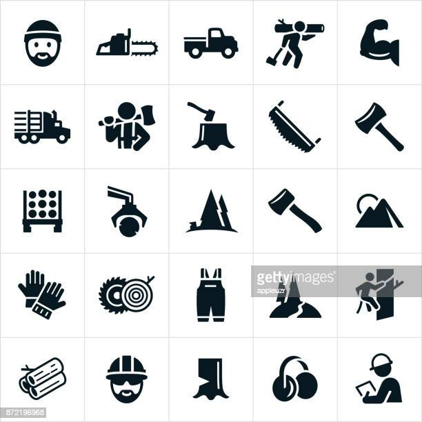 lumberjack and logging icons - occupational safety and health stock illustrations, clip art, cartoons, & icons