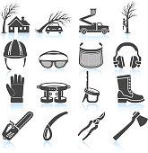 Lumberjack Aorist and Equipment black & white vector icon set