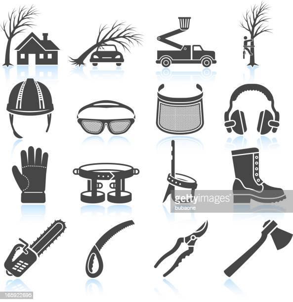 lumberjack aorist and equipment black & white vector icon set - black boot stock illustrations
