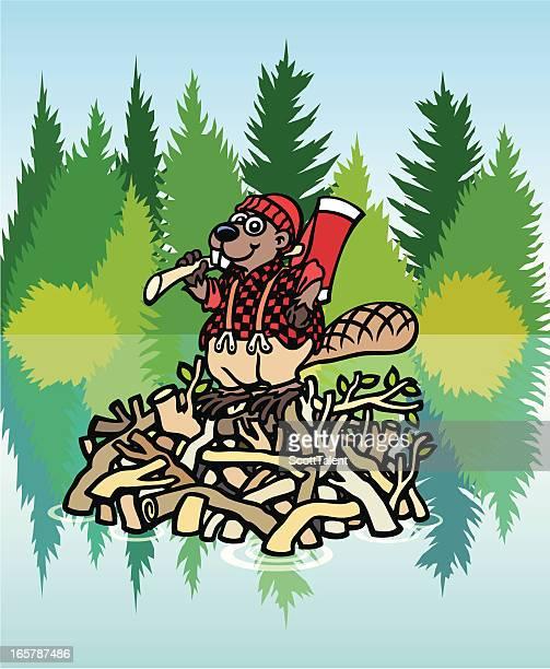 lumberjack beaver - driftwood stock illustrations