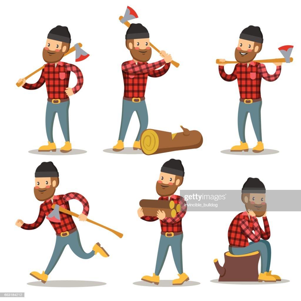 Lumberjack Cartoon Character Set. Woodcutter